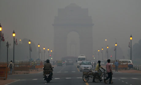 The India Gate monument in New Delhi, India, enveloped by a blanket of smog