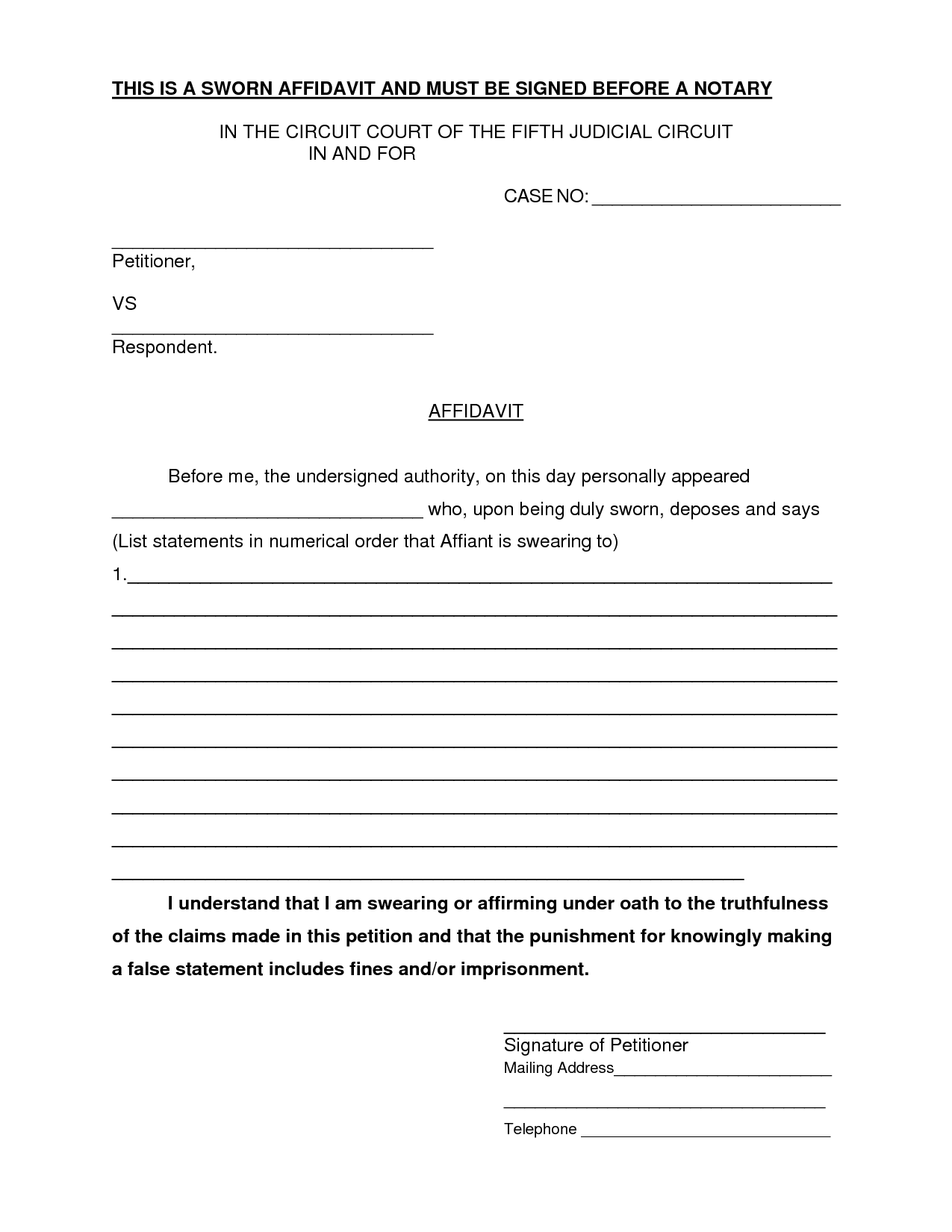 Free Affidavit Form Sample Pdf Word – Affidavit Forms Free