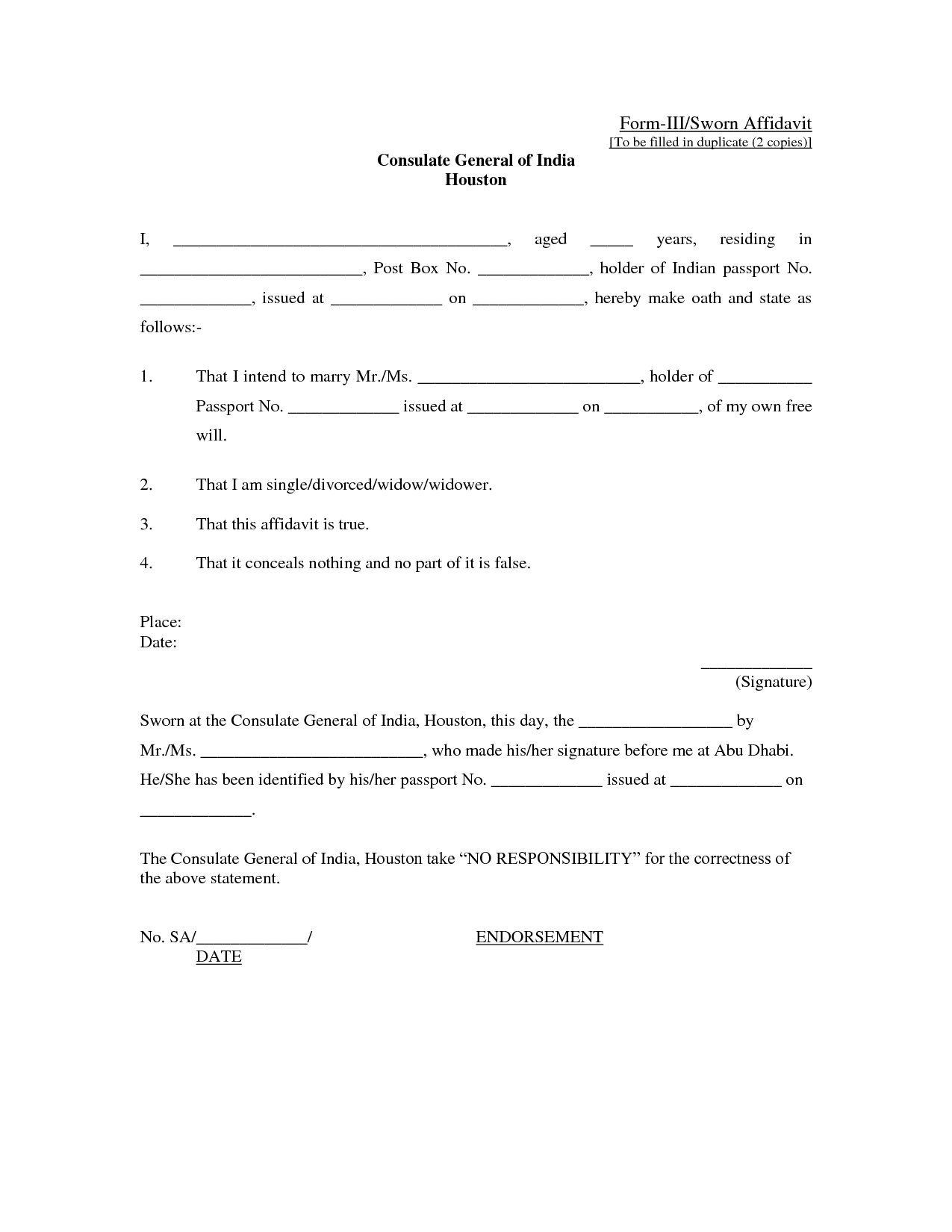 Affidavit Form Sample  General Affidavit Sample
