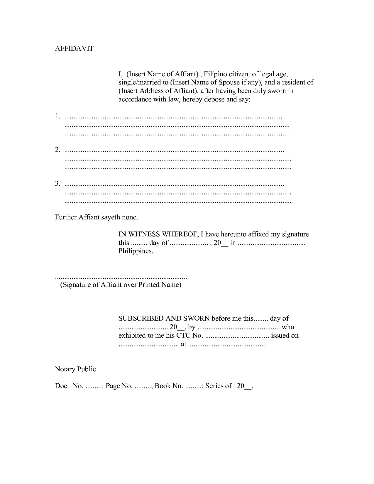 affidavit letter format attendance sheet template word samples of