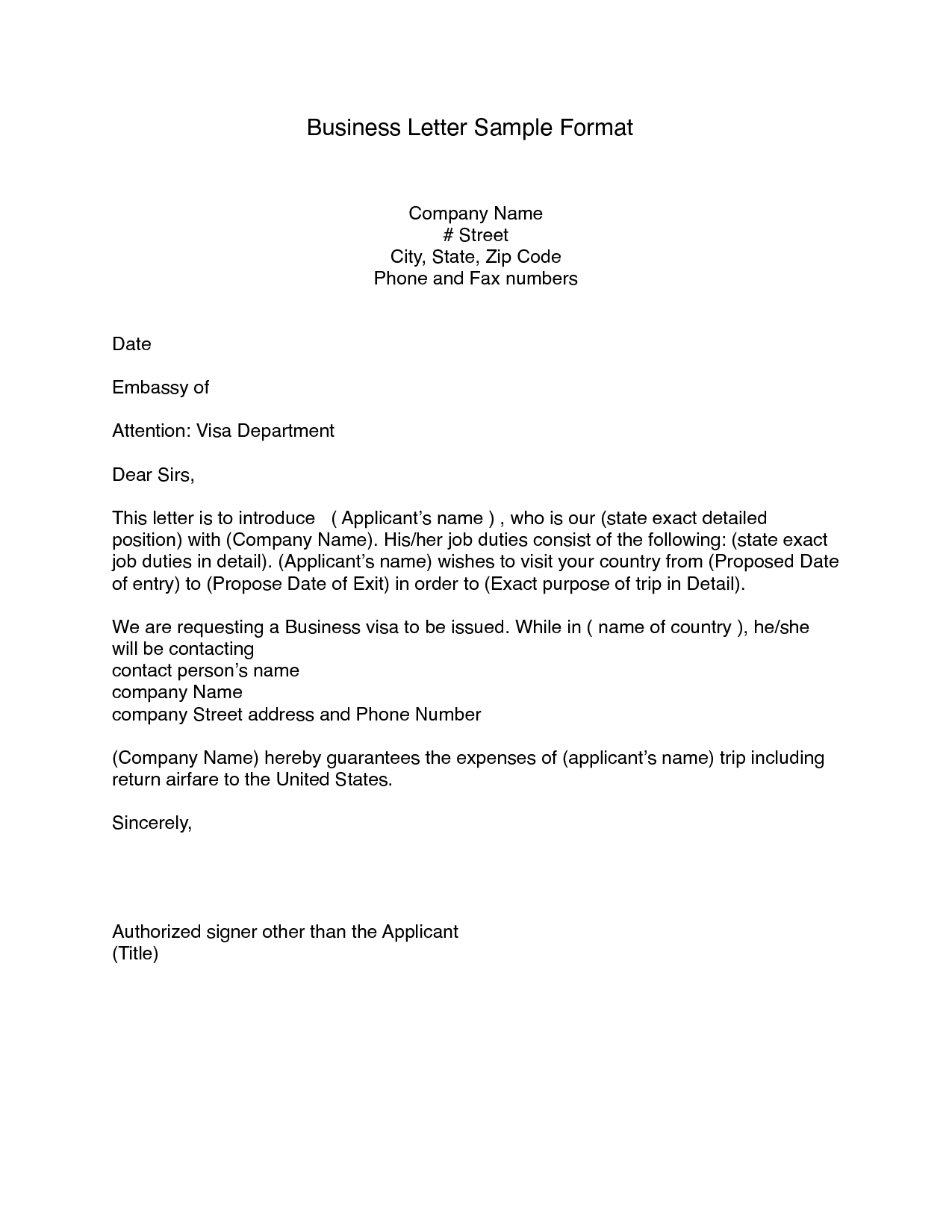 business letter formet