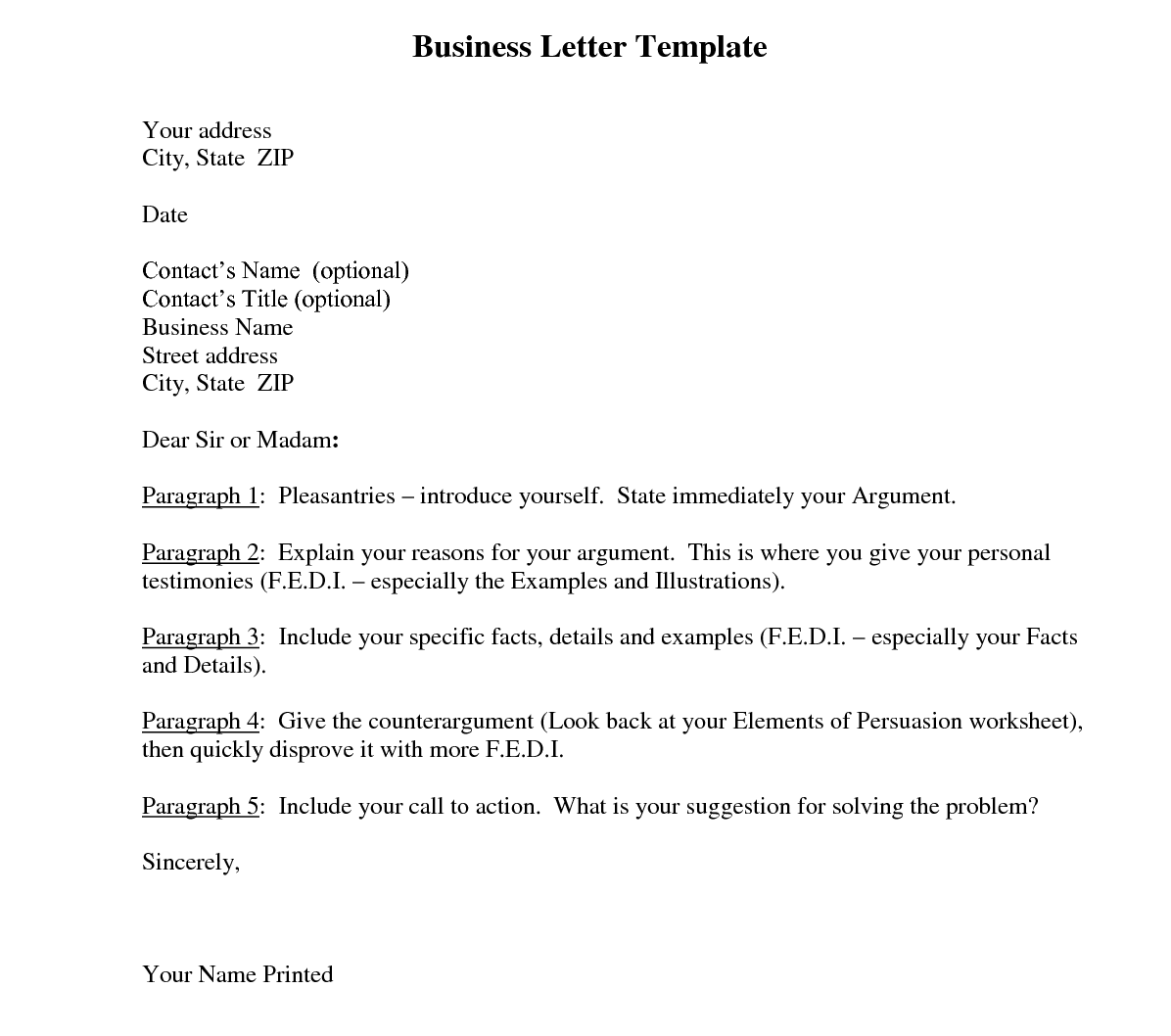 7 formats of business letter template word pdf - Business Letter Template Word