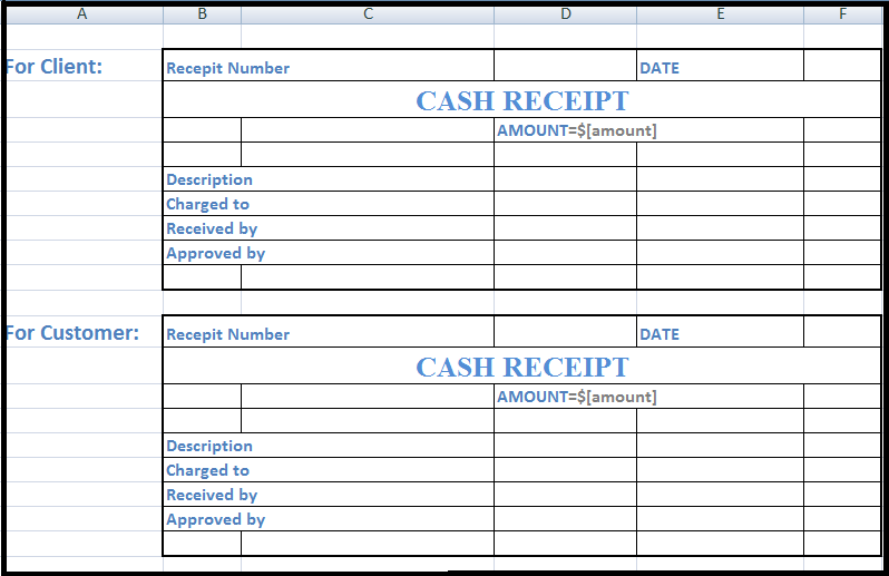 Cash Receipt Format in Excel