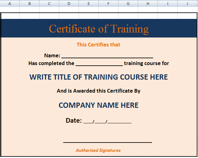 Free Printable Certificates Templates Word Sample – Free Training Certificate Template