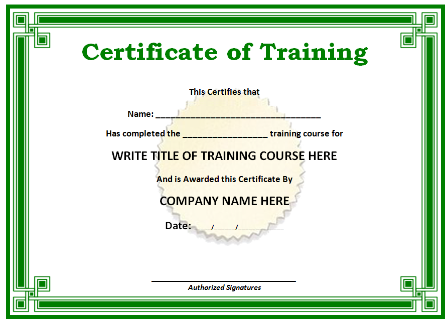 Free Printable Certificates Templates Word Sample – Training Certificate Template Free Download