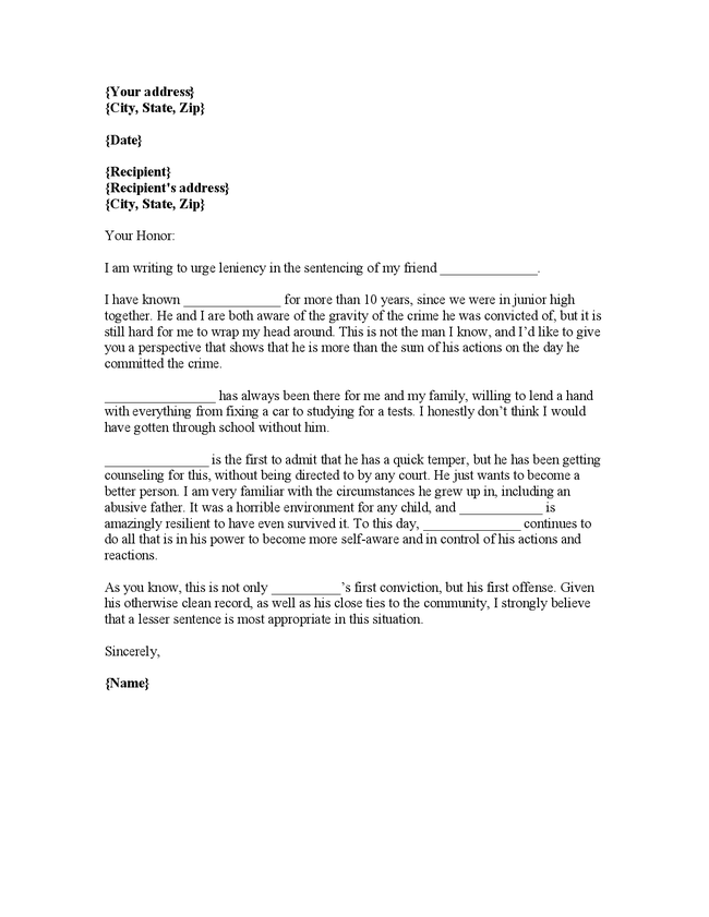 character reference letter for court template