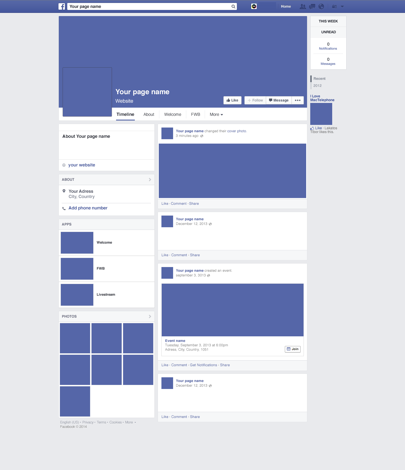 Free Blank Facebook Template Word & Pdf | Facebook Template Psd ...