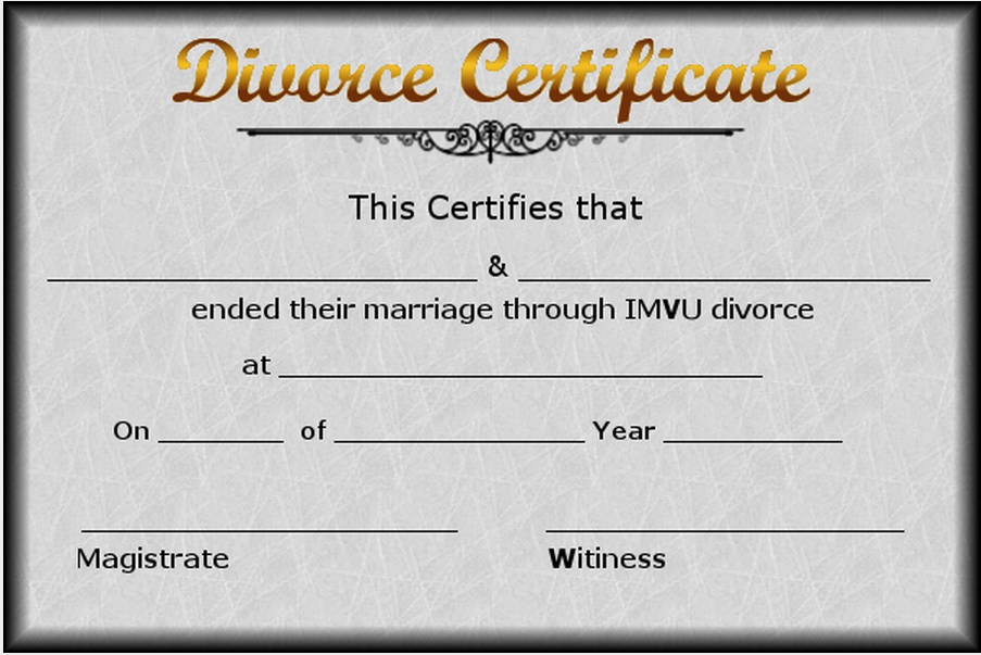 Fake Divorce Decree Template