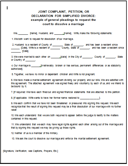 Fake Divorce Papers Pdf Worksheet to Print – Print Divorce Papers