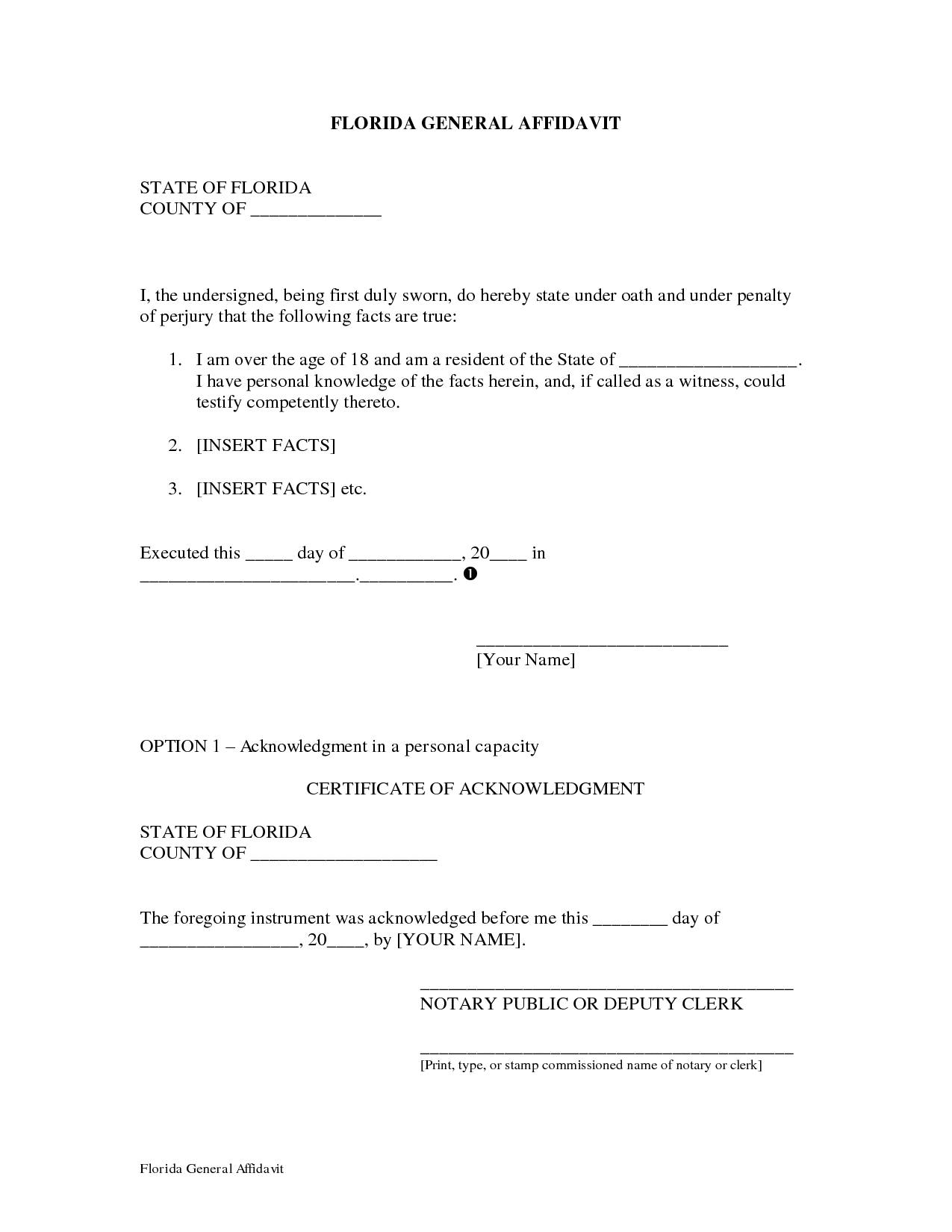 General Affidavit Form  Affidavit Template Free