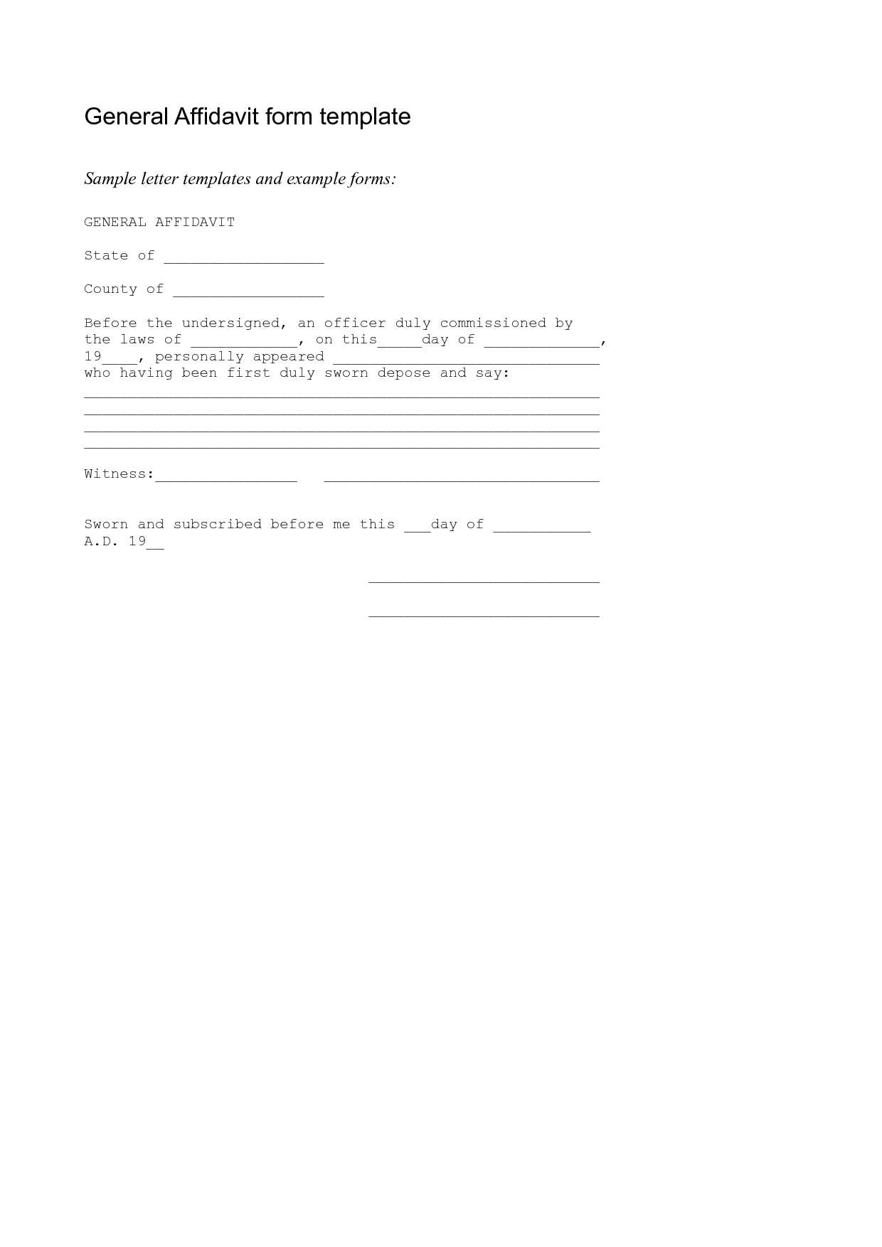Free Affidavit Form Sample Pdf Word – Printable Affidavit Form
