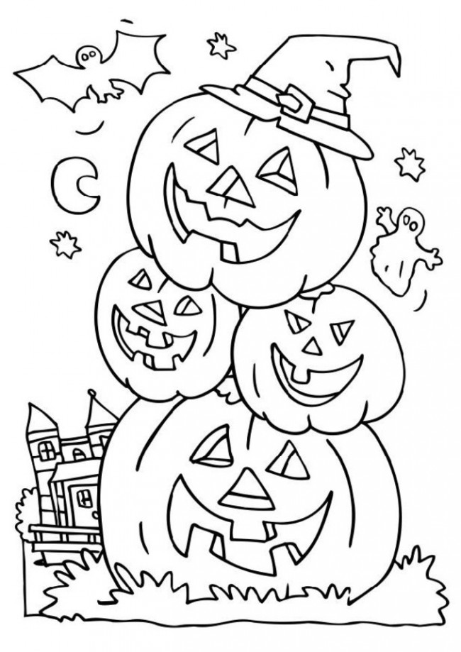 Halloween Pumpkin Coloring Pages Trick Or Treat Bag Coloring Pages