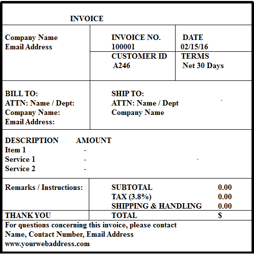 Free invoice Format in Excel Word PDF Templates – Invoice Format Doc