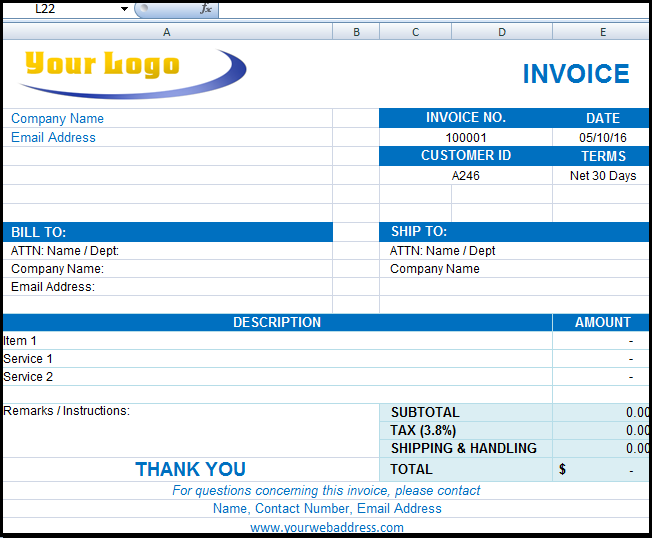 Free invoice Format in Excel Word PDF Templates – Invoice Format Template