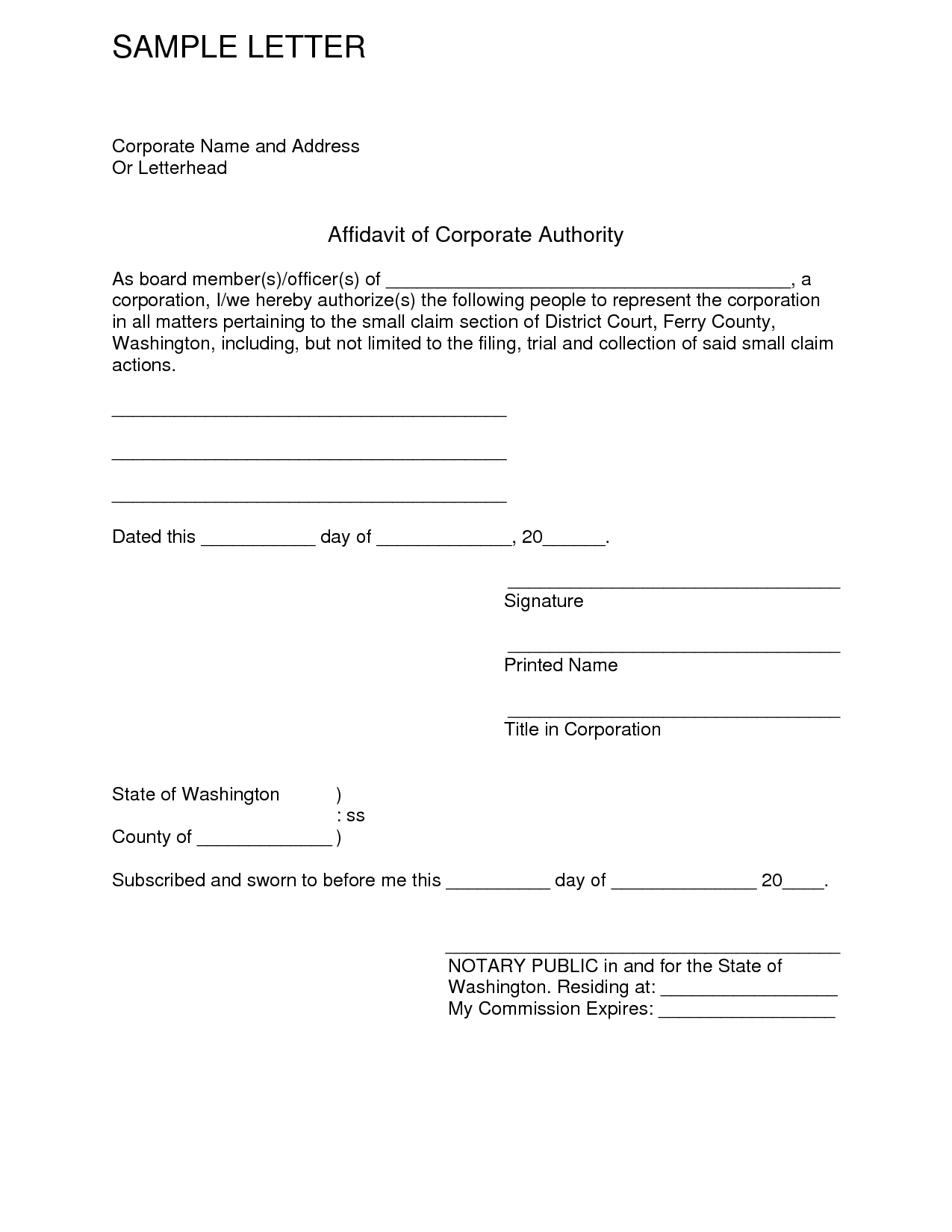 Free Affidavit Form Sample Pdf Word – Free Affidavit Form