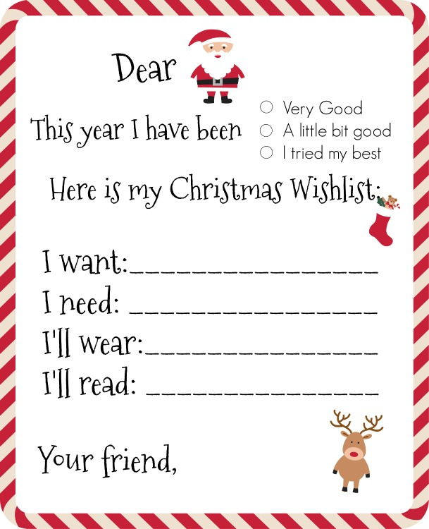 Blank Printable Christmas Wish List Santa Template Daily Roabox