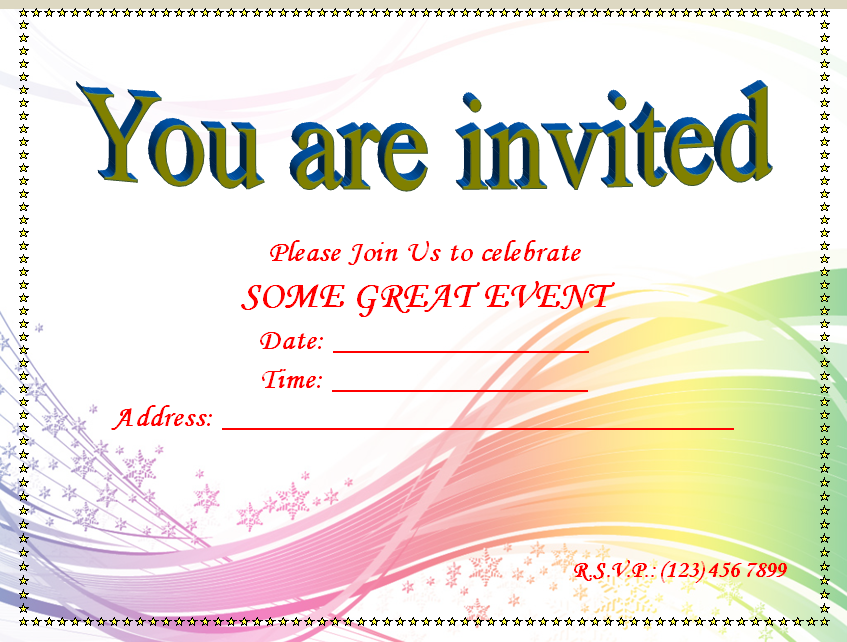 Blank Invitation Templates For Microsoft Word  Free Birthday Invitations Templates For Kids