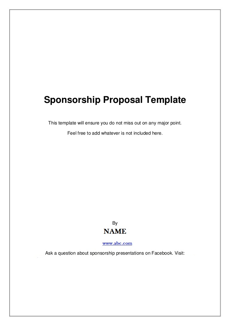 Event Sponsorship Form Template  Blank Sponsorship Forms