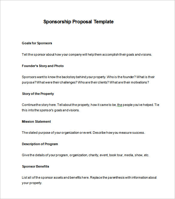 Free Sponsorship Form Template Word, Excel & Pdf Samples | Daily