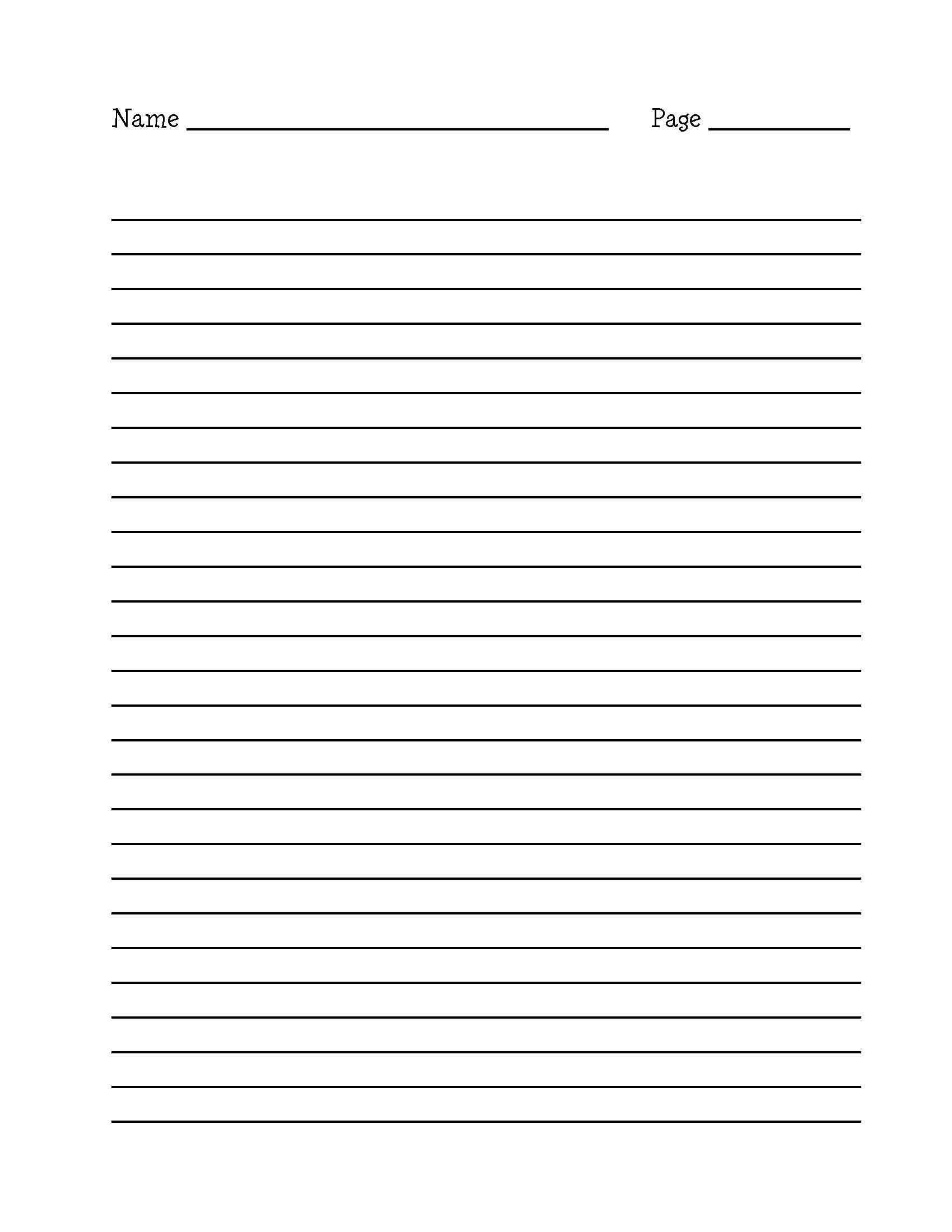 Handwriting Paper Template 2nd Grade - Writing