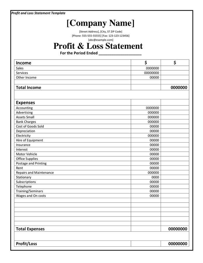 Printable Profit And Loss Statement Format Excel Word PDF – Sample Profit and Loss Form