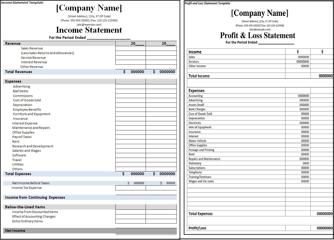 printable profit and loss statement format excel word pdf