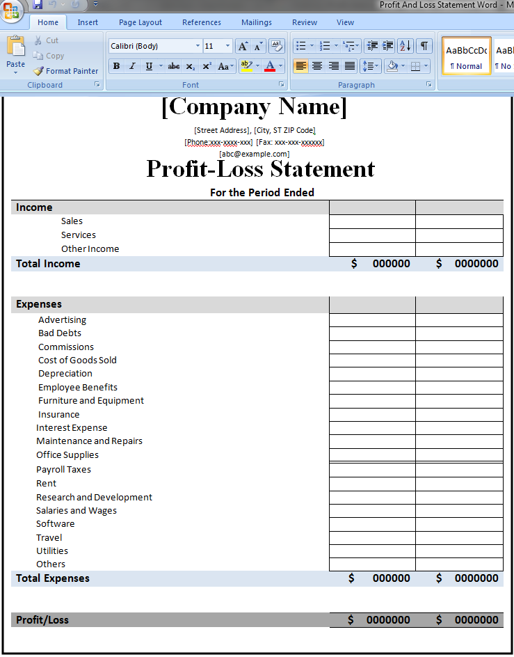 profit and loss statement template microsoft word