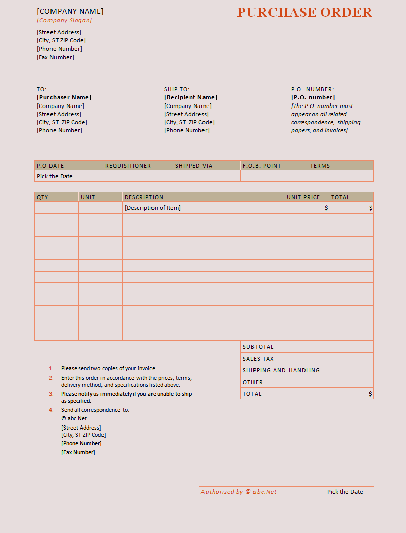 Purchase Order Format In Word  Free Po Template