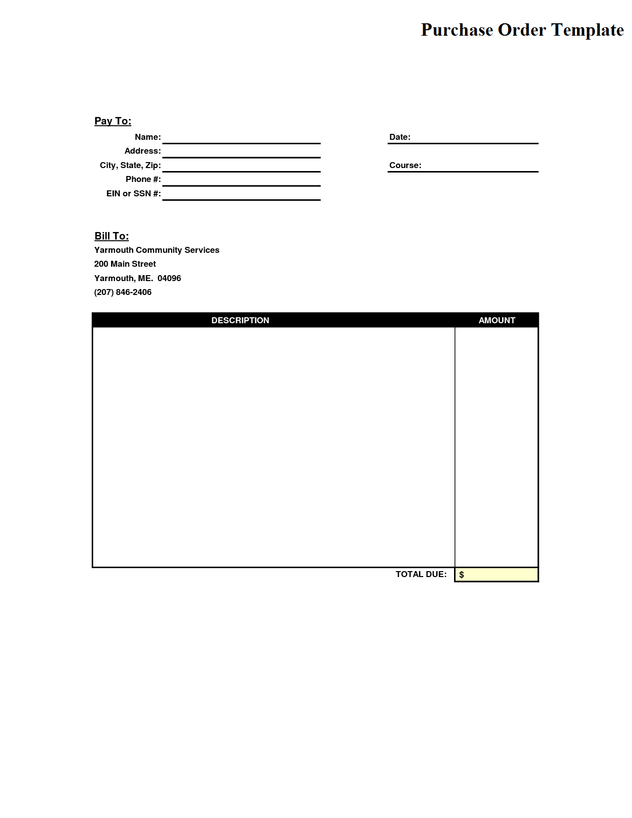 Service Order Form Template  Purchase Order For Services Template