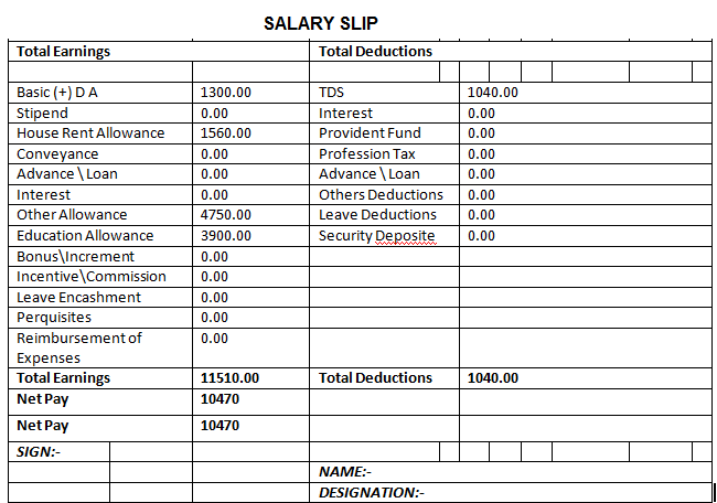 Free Salary Slip Format in Word PDF Excel Templates – Free Salary Slip Template