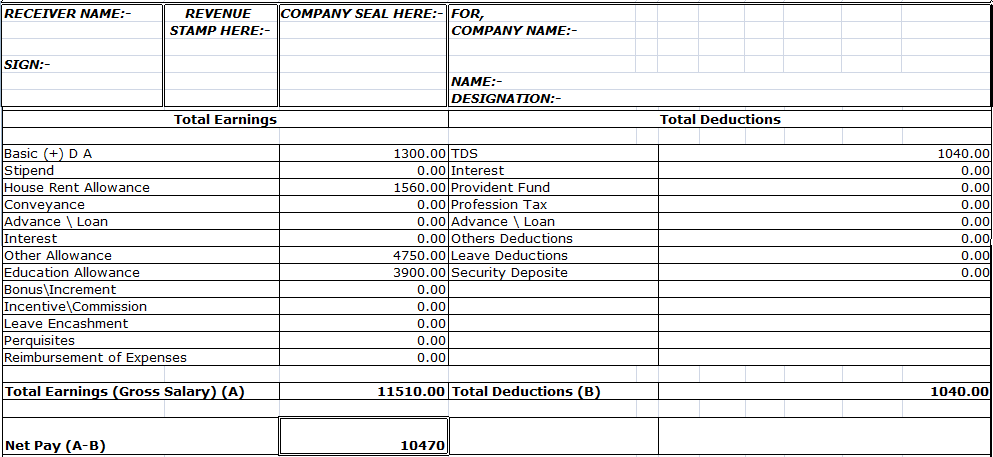 Free Salary Slip Format in Word PDF Excel Templates – Download Salary Slip Format