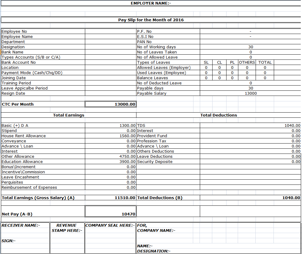 Salary Sheet Excel Template  Payslip Template In Excel