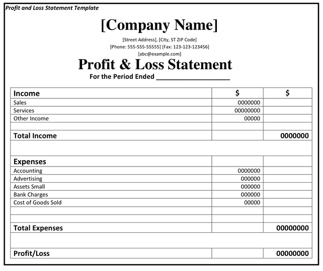 simple profit and loss form download