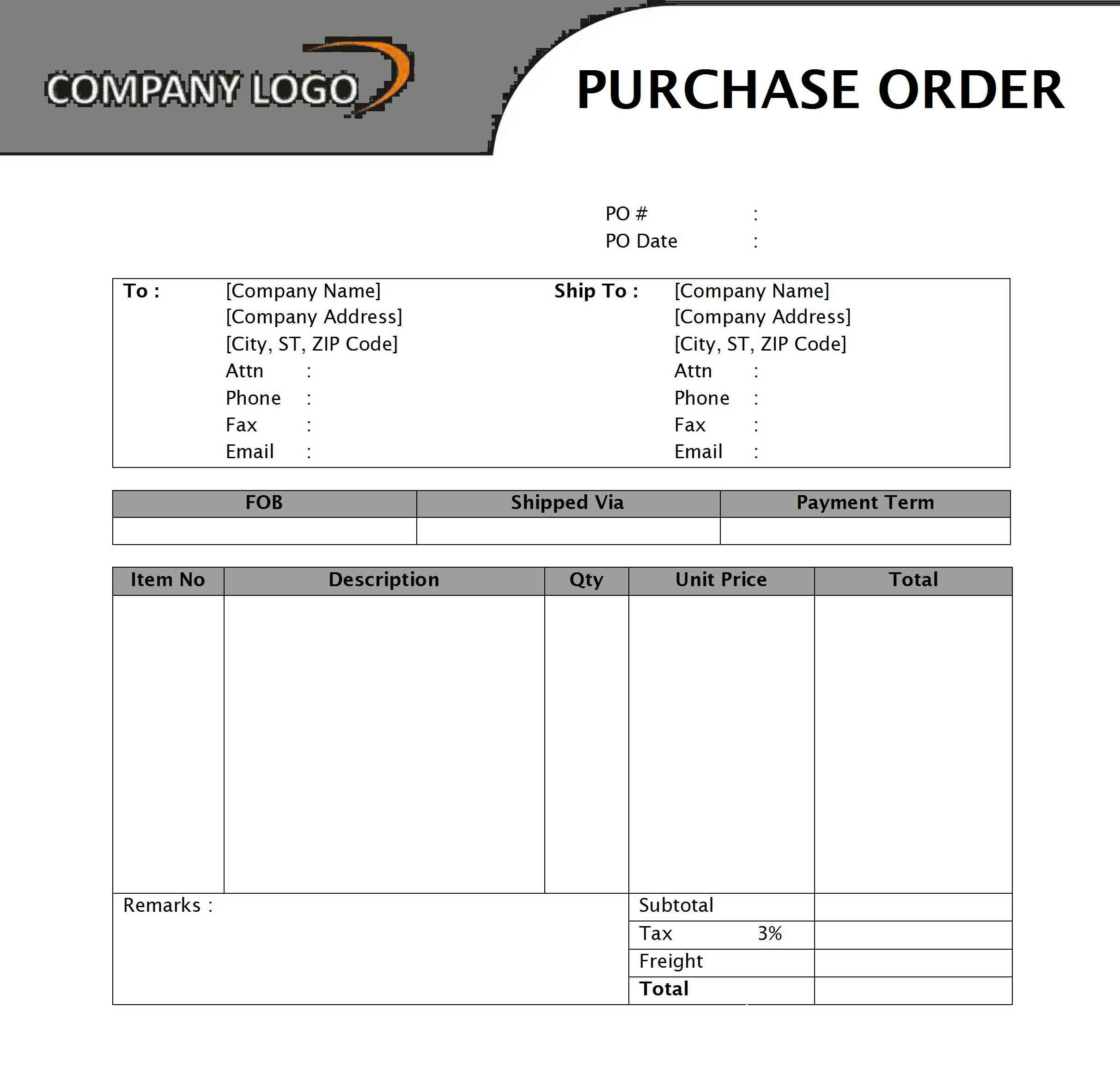 Purchase Order Template Sample Word Doc Excel Pdf – Free Purchase Order Template Word