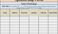 Sponsorship Form Template Excel