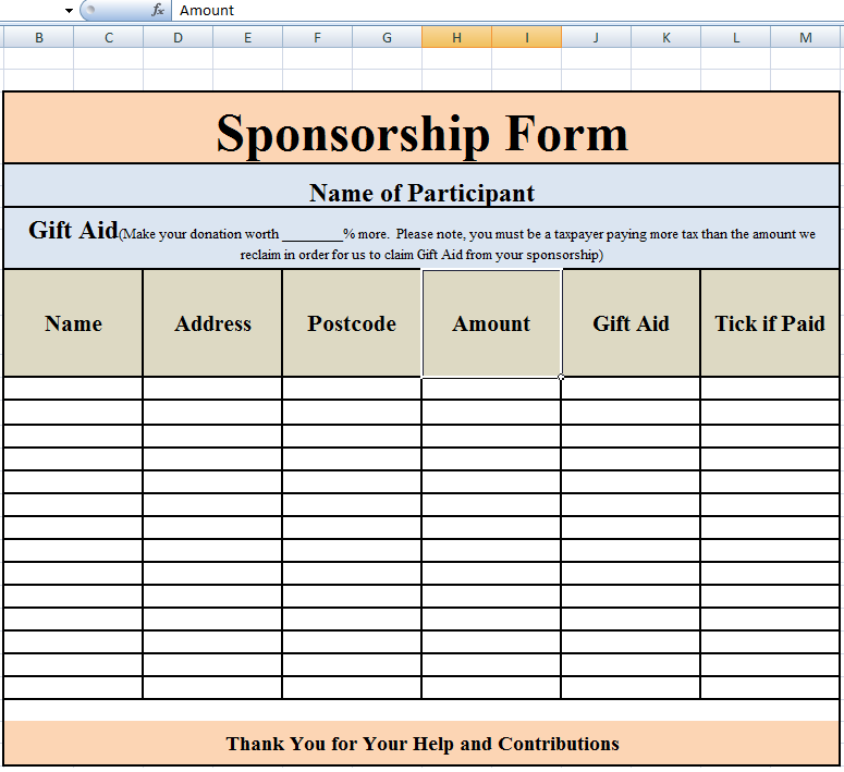Superior Sponsorship Form Template Excel  Charity Sponsor Form