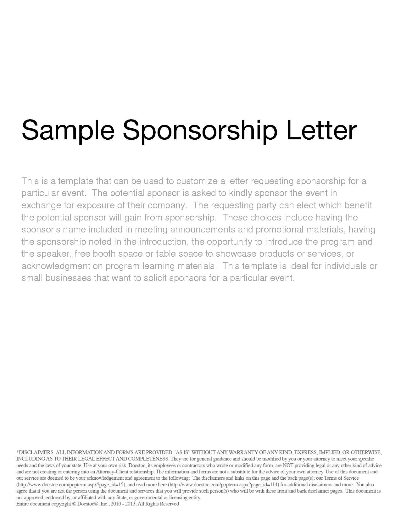 Doc694951 Format for Sponsorship Letter Request For – Free Sponsorship Letter