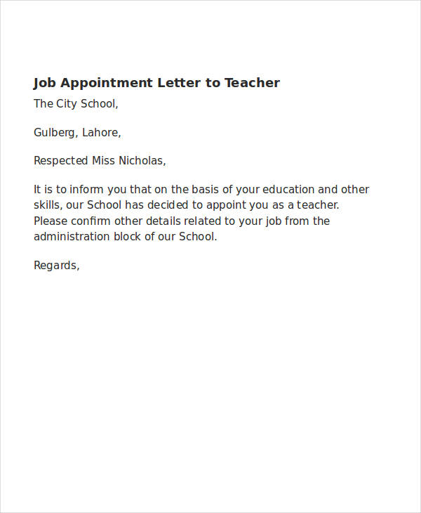 11 Simple Appointment Letter Sample Word & PDF