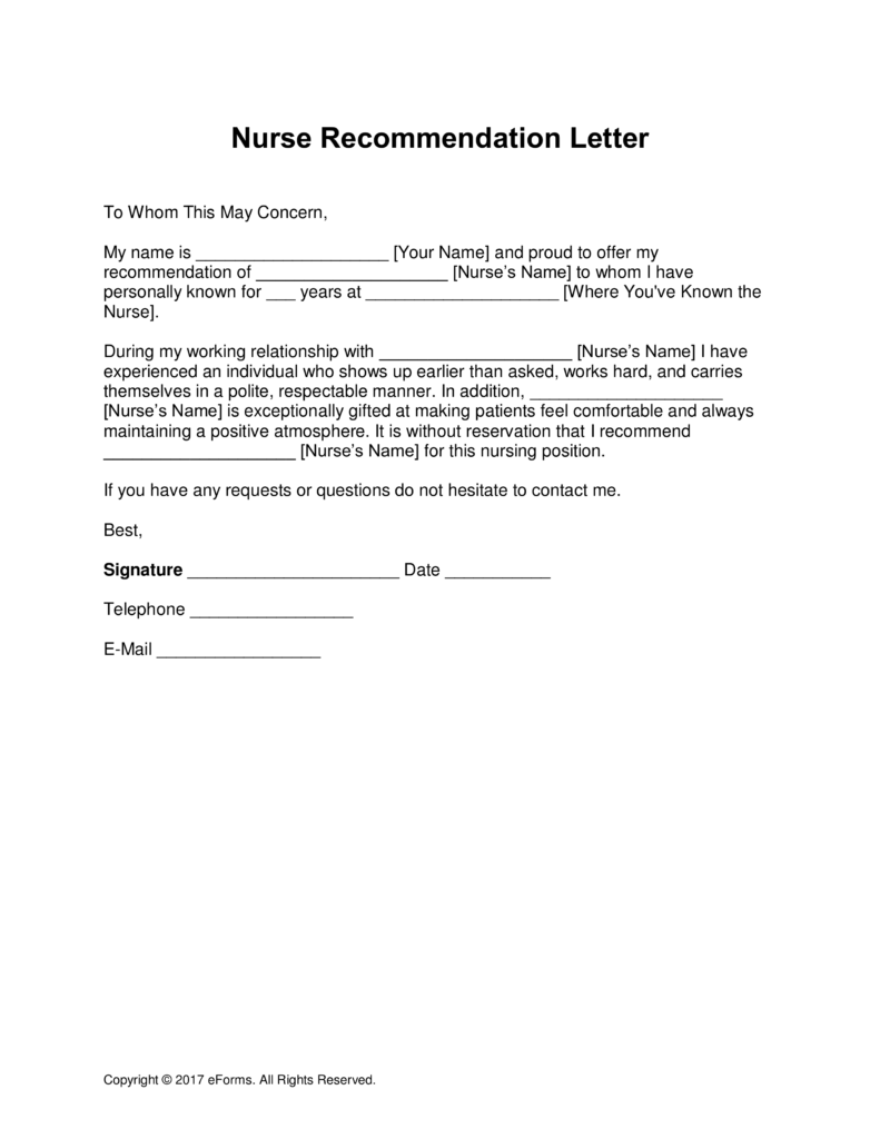 5 letter of recommendation for nursing school template
