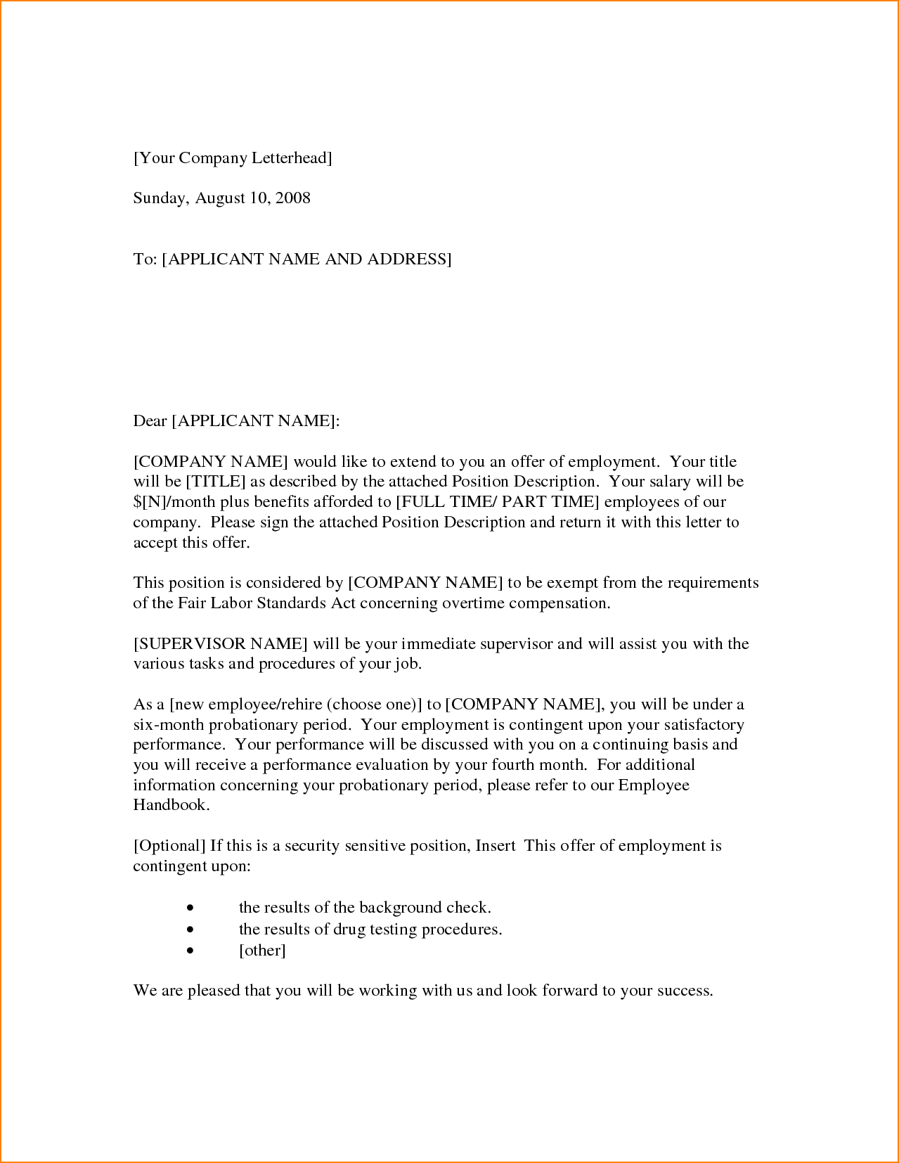 7 Employment Offer Letter Format in Word, PDF & Doc