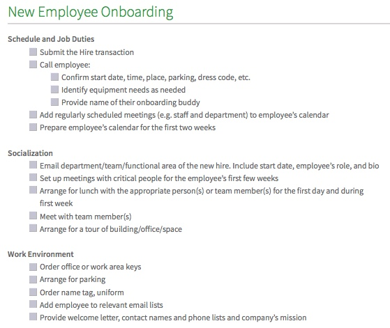 New Rental List: Employee Onboarding Checklist Template