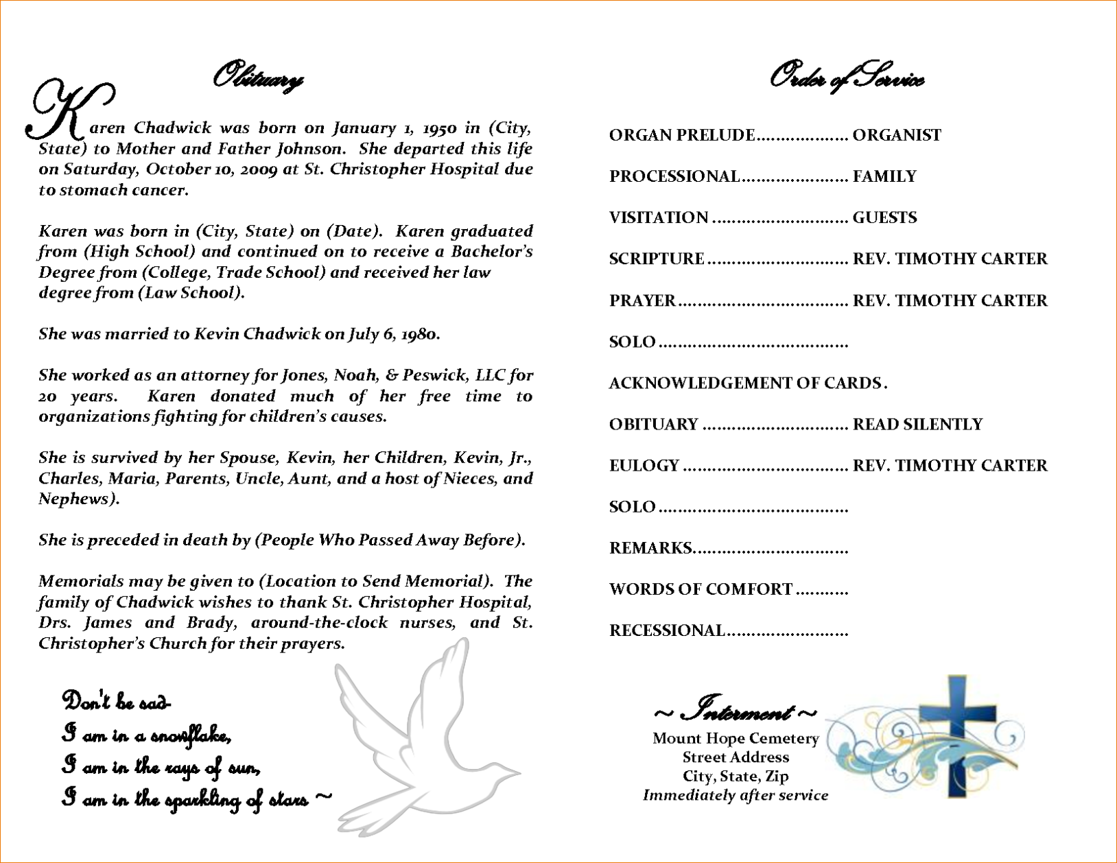 Exhilarating image regarding free printable obituary templates