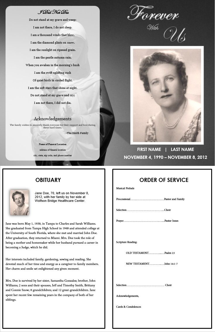 Free Editable Obituary Templates