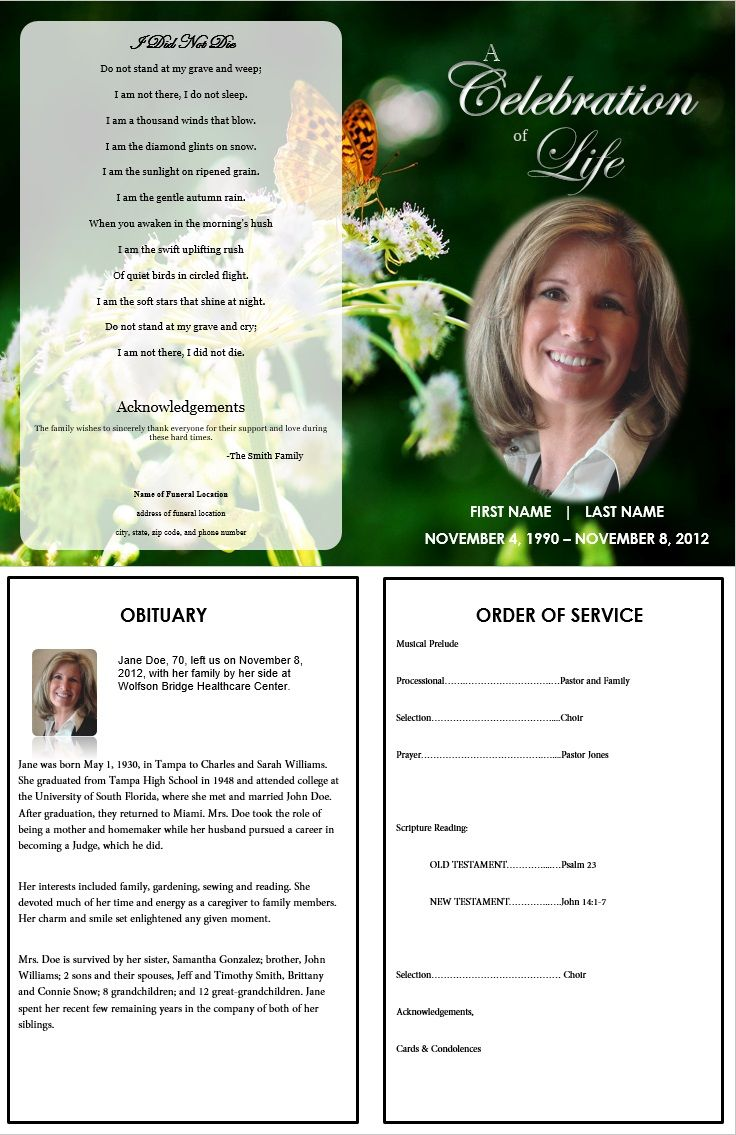 free editable obituary templates word  pdf