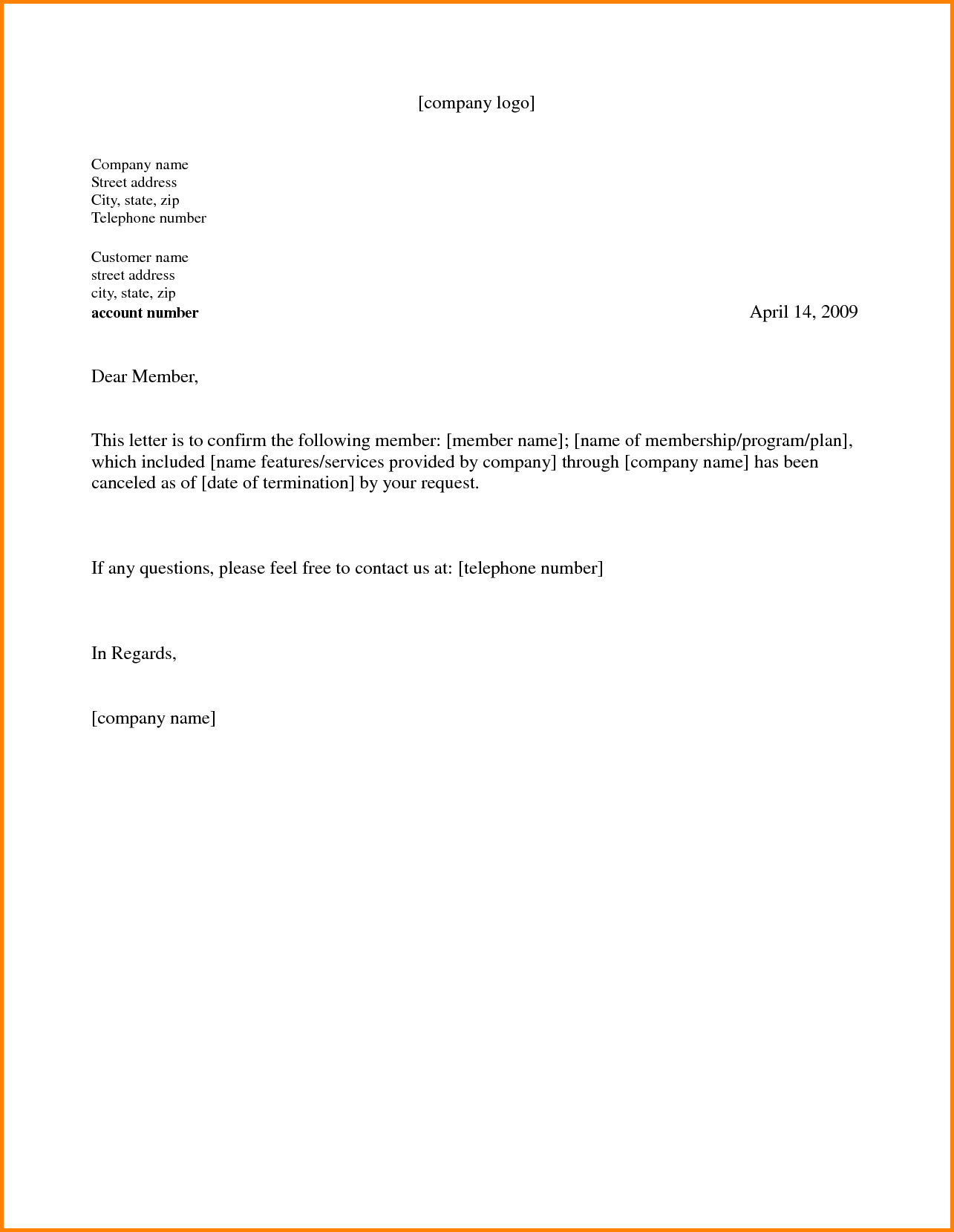 Gym Membership Cancellation Letter Examples