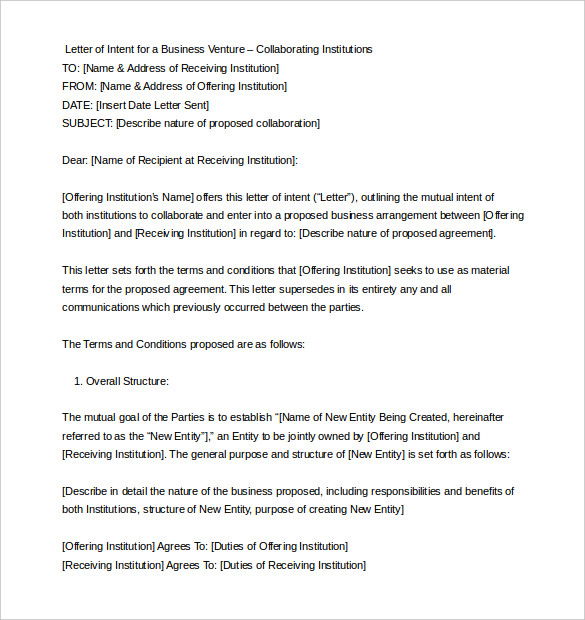 Letter Of Intent Business Venture from dailyroabox.com