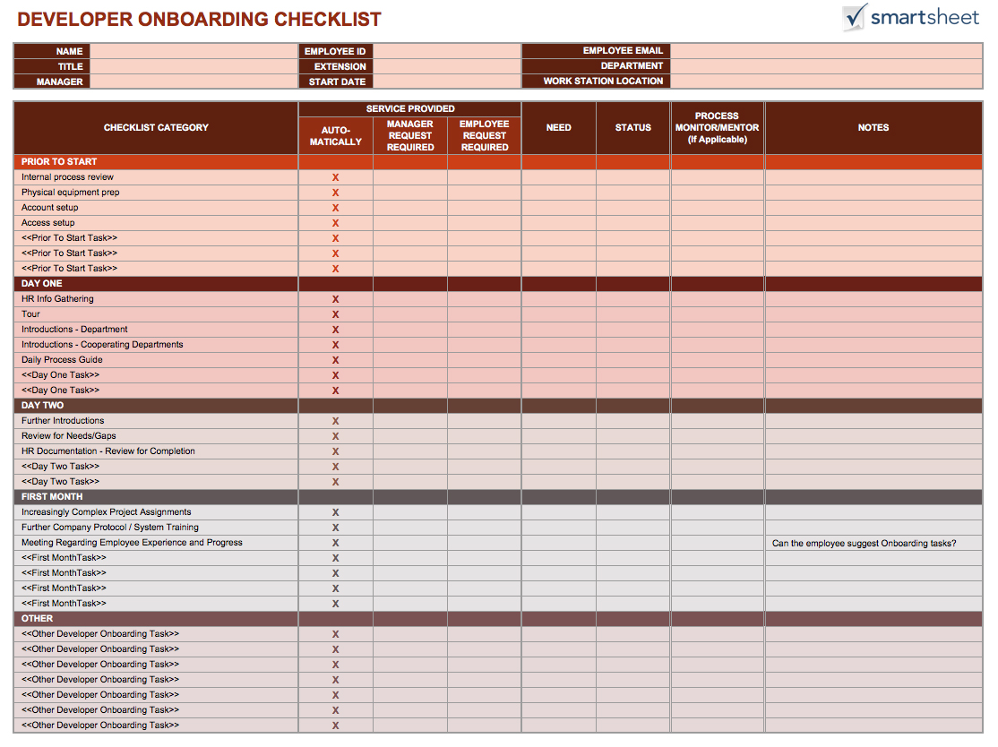 Onboarding Process Template Excel & Word