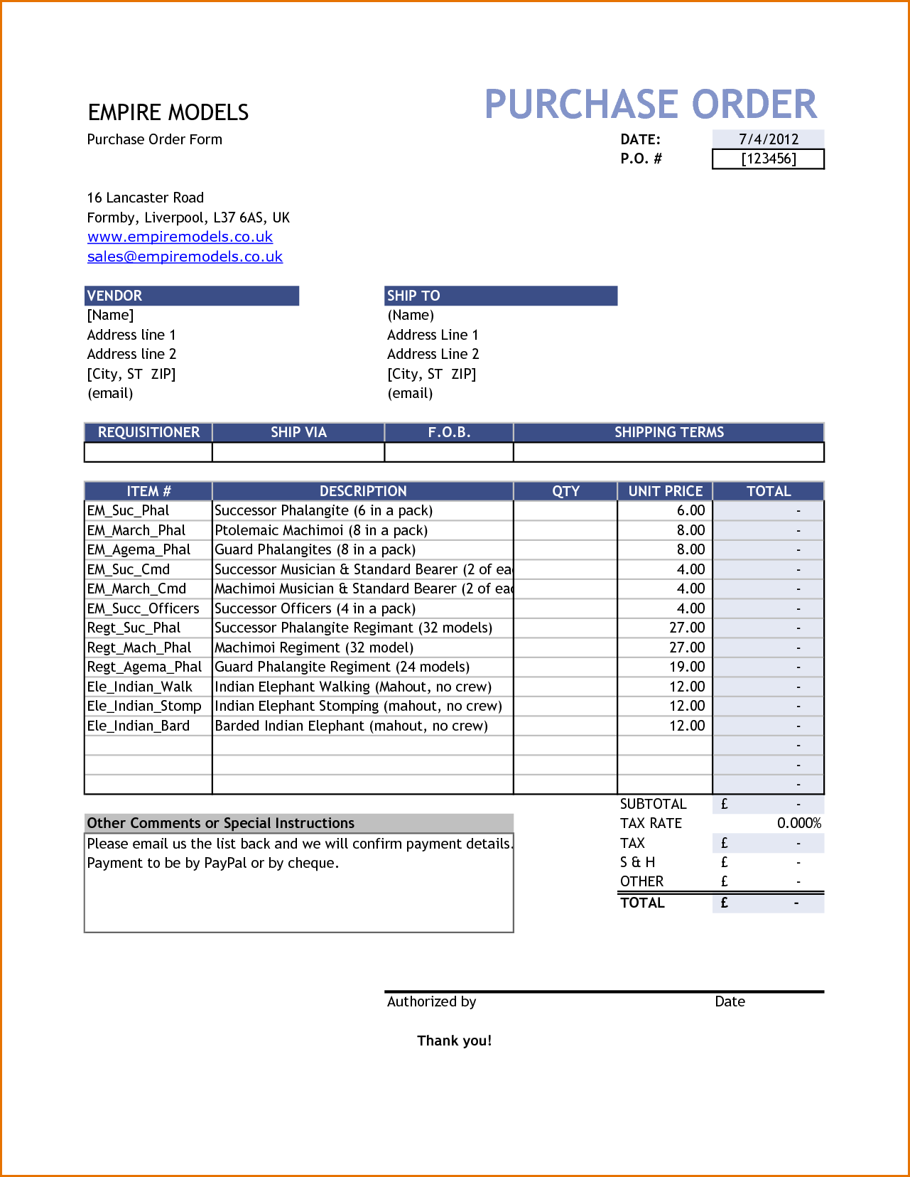 Purchase Order Template Pdf Format In Word Daily Roabox