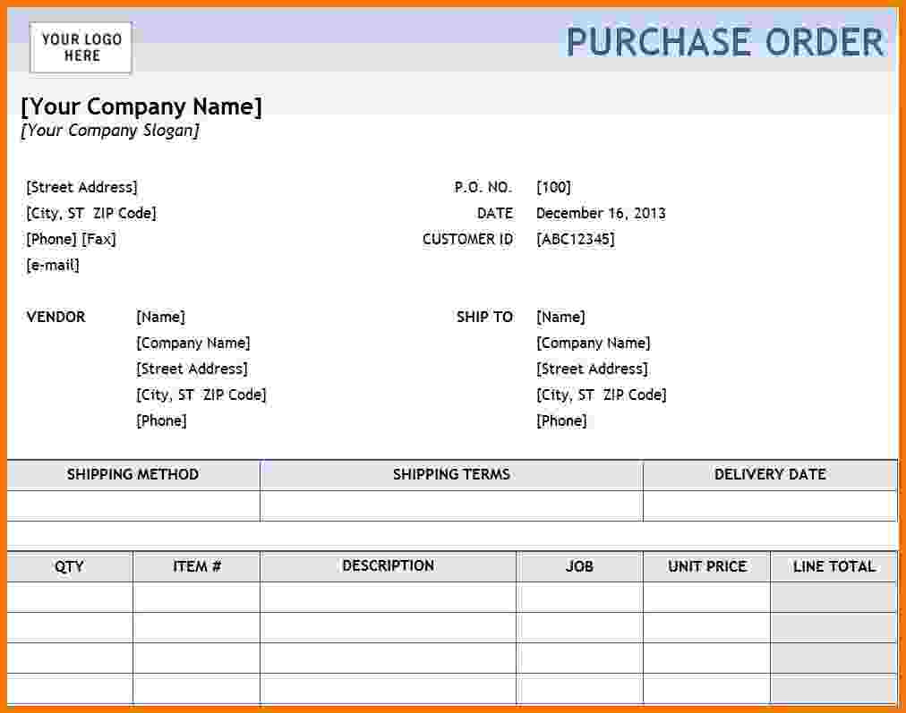 purchase order template pdf  format in word