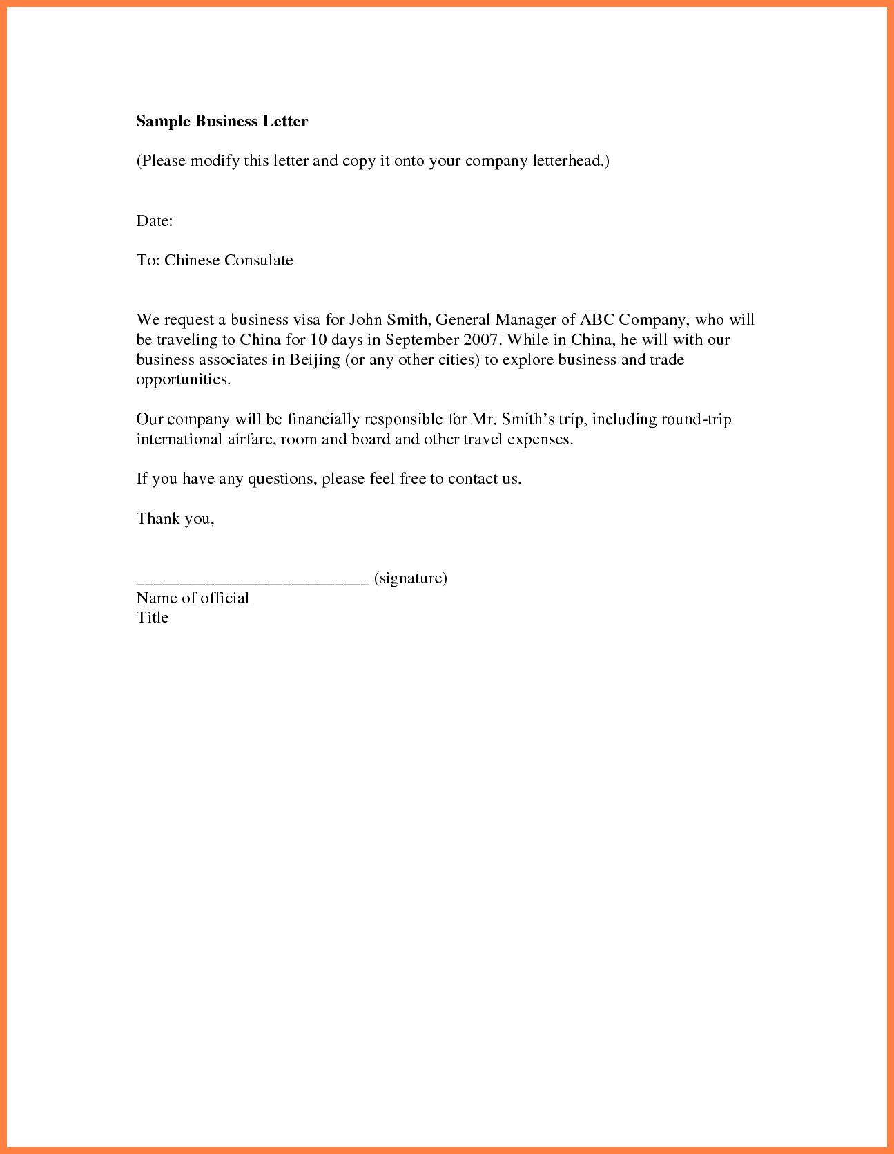 Sample Business Letter of Introduction